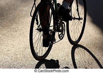 rowerzysta, jeżdżenie, sylwetka