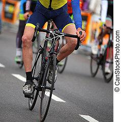 rowerzysta, miasto, rower, bez, prąd, ręka