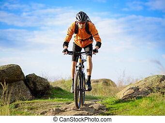 rowerzysta, piękny, góra, ciągnąć, rower jeżdżenie