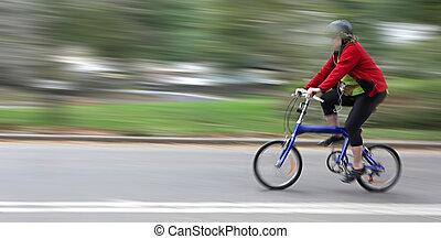 rowerzysta, plama ruchu