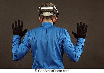 rowerzysta, reputacja, podniesiony, jego, herb nazad