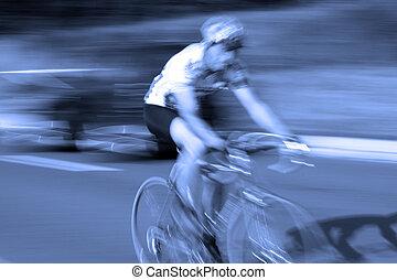 rowerzysta, rower, ast, ruch, prąd, plama, droga