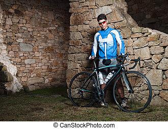 rowerzysta, rower, przedstawianie, jego, biegi