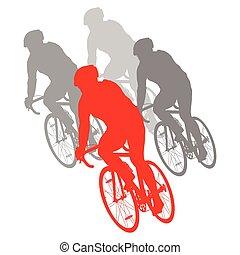 rowerzysta, szczegółowy, pojęcie, sylwetka, kolarstwo,...