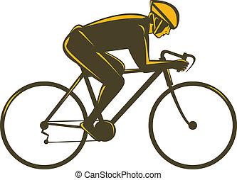 rowerzysta, widok budynku