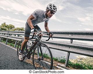 rowerzysta, wysiłek, maksimum