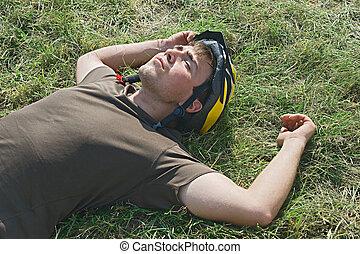 rowerzysta, zmęczony