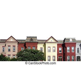 rowhouses, blanc, dc