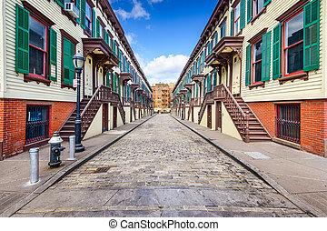 rowhouses, histórico, manhattan