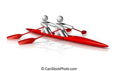 three dimensional rowing symbol
