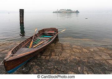 Rowing boat at Lake Orta in Italy