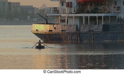 Rowing boat goes on oars Time lapse