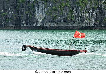 Rowing boat in the Ha Long Bay