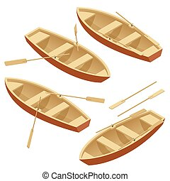 Rowing boat set. Wooden boat with paddles isolated over white. Flat 3d isometric vector illustration