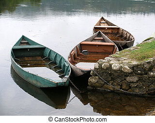 Rowing boats on the Dordogne River in France.