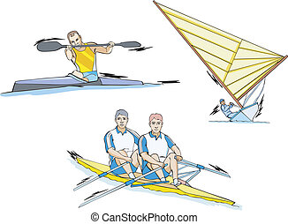 Water Sports: Whitewater slalom, Rowing and Sailing. Set of color vector illustrations.