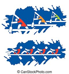 Rowing competition, stylized illustration on the blue grunge...