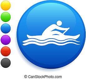 rowing icon on round internet button original vector illustration 6 color versions included