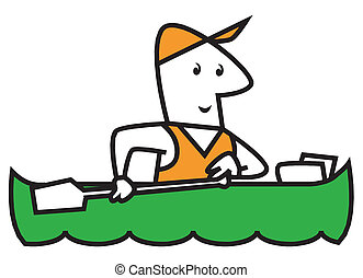 rowing - vector illustration of sport rowing
