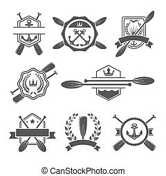 Rowing logo and paddle badges. Oar and shield, rowing and...