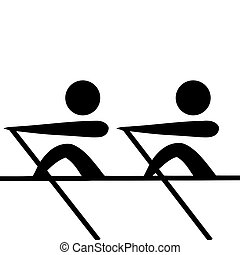 Rowing sign - Black silhouetted rowing pairs sign or symbol;...