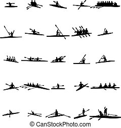 Rowing silhouette set