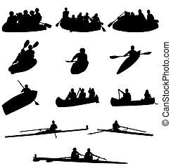 set of rowing silhouettes with high detail