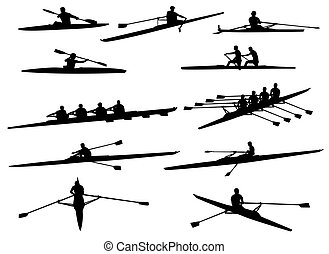 rowing silhouettes - 	rowing silhouettes - vector