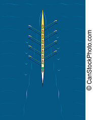 Rowing team centered - Eight person rowing team with canoe...