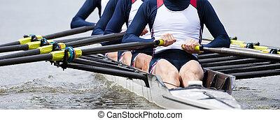 Rowing team (Quadruple Four) at the start of a regatta