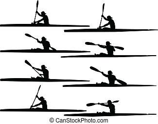 rowing - vector - illustration of rowing - vector