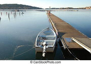 Rowingboat in winter