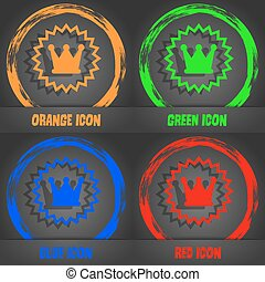 ?rown icon. Fashionable modern style. In the orange, green, blue, red design. Vector