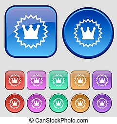 ?rown icon sign. A set of twelve vintage buttons for your design. Vector
