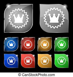 ?rown icon sign. Set of ten colorful buttons with glare. Vector