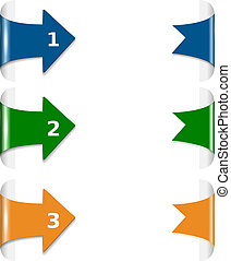 Blue and green and orange arrows on white background vector