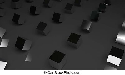 Rows of abstract cubes on surface, modern computer generated 3D render background