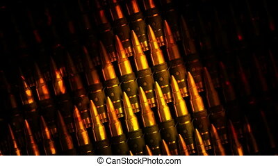 Rows Of Ammunition In Fire Abstract - Tracking shot moving...