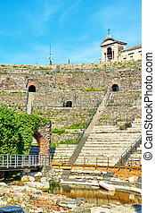 Roman theater in Catania - Rows of ancient Roman theater in...