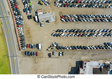 Rows of auction lot on cars parked in car parking