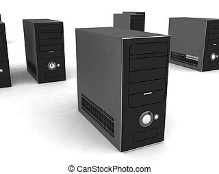 three dimensional rows of black CPU