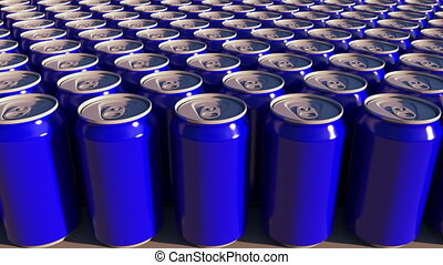 Rows of blue aluminum cans at factory. Soft drinks or beer production. Modern recycling packaging. 4K seamless loop dolly clip, ProRes