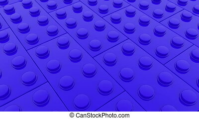 Rows of blue toy bricks