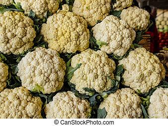 cauliflower for sale at market