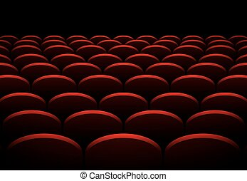 Rows of cinema or theater red seats vector background