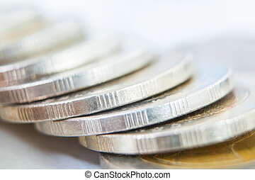Rows of coins for finance and Saving concept,Investment, Economy, Soft focus