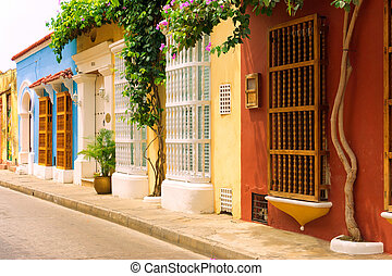 Rows of Colonial Houses in Cartagena