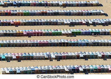Rows of colored beach huts, Nazare (Portugal)