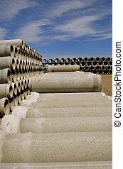 Rows of concrete culverts