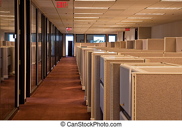 A row of beige cubicles in a modern office building